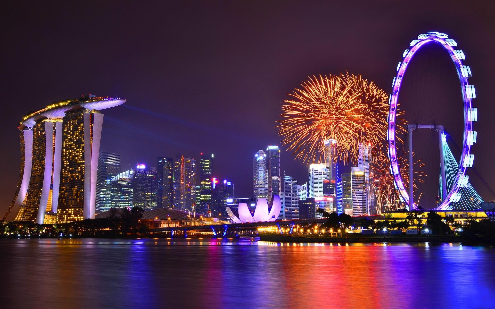 страны архитектура Сингапур ночь  № 1475990 загрузить